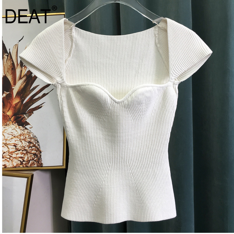 DEAT 2019 New Spring Sqaure Collar Sleeveless Knitting Pullover Slim Short High Waist Top Female Tank WK69001l