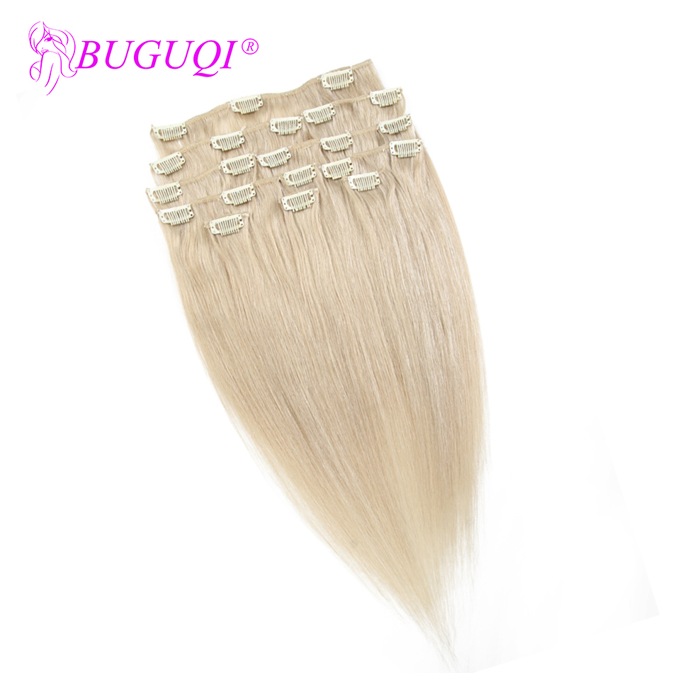 BUGUQI Hair Clip In Human Hair Extensions Mongolian #24 Remy 16- 26 Inch 100g Machine Made Clip Human Hair Extensions