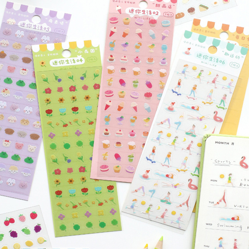 4Kinds Cute Colorful Mini Life Series Stickers DIY Scrapbooking Album Diary Happy Planner Decoration Stickers