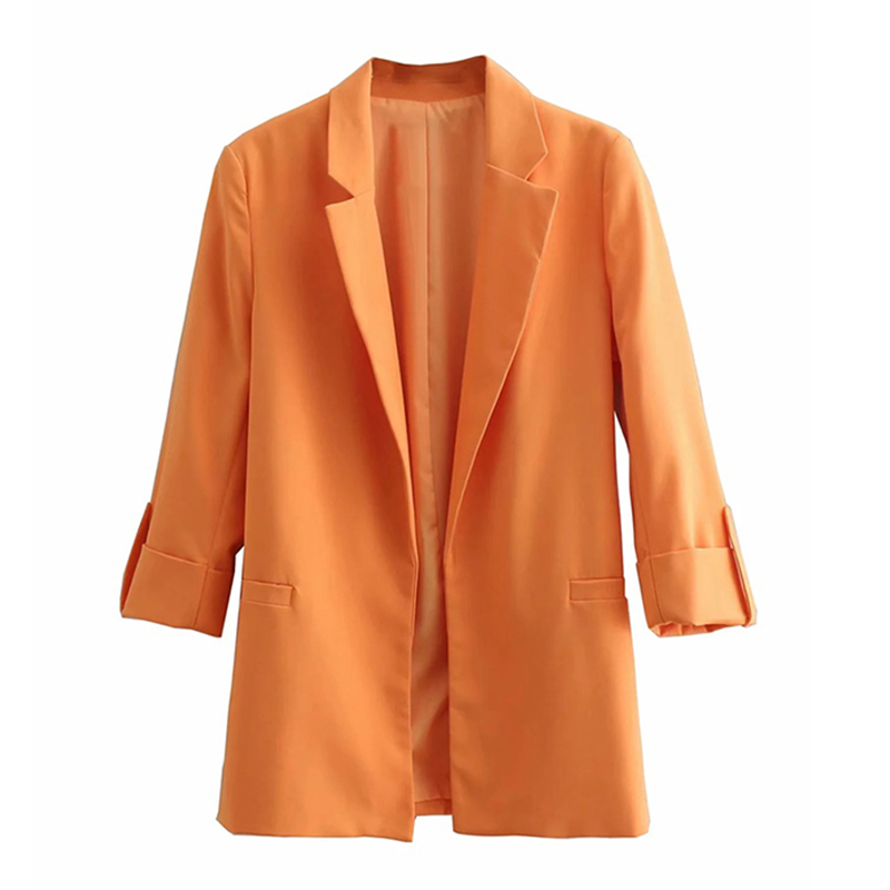 2020 Women's Blazer Pink Long Sleeve Blazers Solid  Coat Slim Office Lady Jacket Female Tops Suit Blazer Femme Jackets
