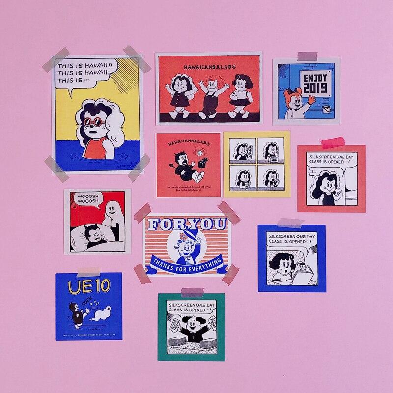 12pcs/pack Cartoon Girl Stickers Wall Waterproof Decoration Photo Cute Little Girl Postcard Decorative Stationery Sticker