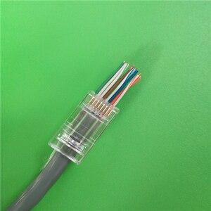 CAT6 быстрая скорость передачи позолоченный RJ 45 8 контактов интернет кабель штекер 8P8C терминалы RJ45 разъем 8pin сквозное отверстие 100 шт