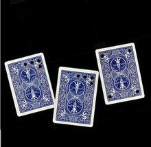 Tarjeta de matriz con agujero móvil en la parte trasera del Póker azul, juguetes mágicos con apariencia de tarjeta hueca, trucos de magia Wow, broma clásica, Magie trucos de magia