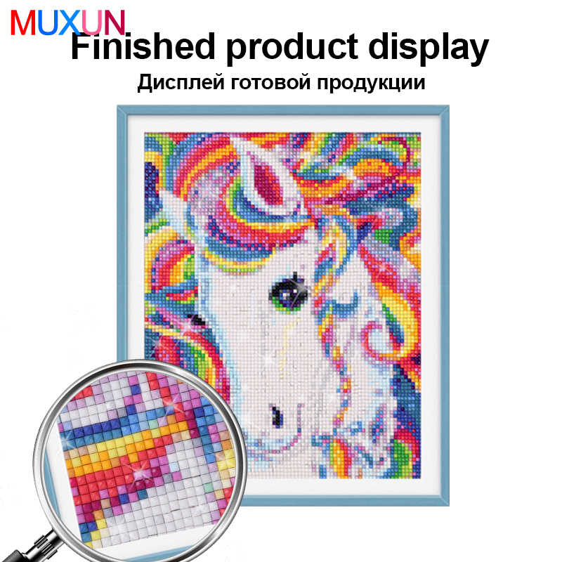 Muxun מלא כיכר/עגול תרגיל 5D Diy יהלומי ציור בצבע שן הארי רקמת צלב סטיץ 5D בית תפאורה מתנה Jq223