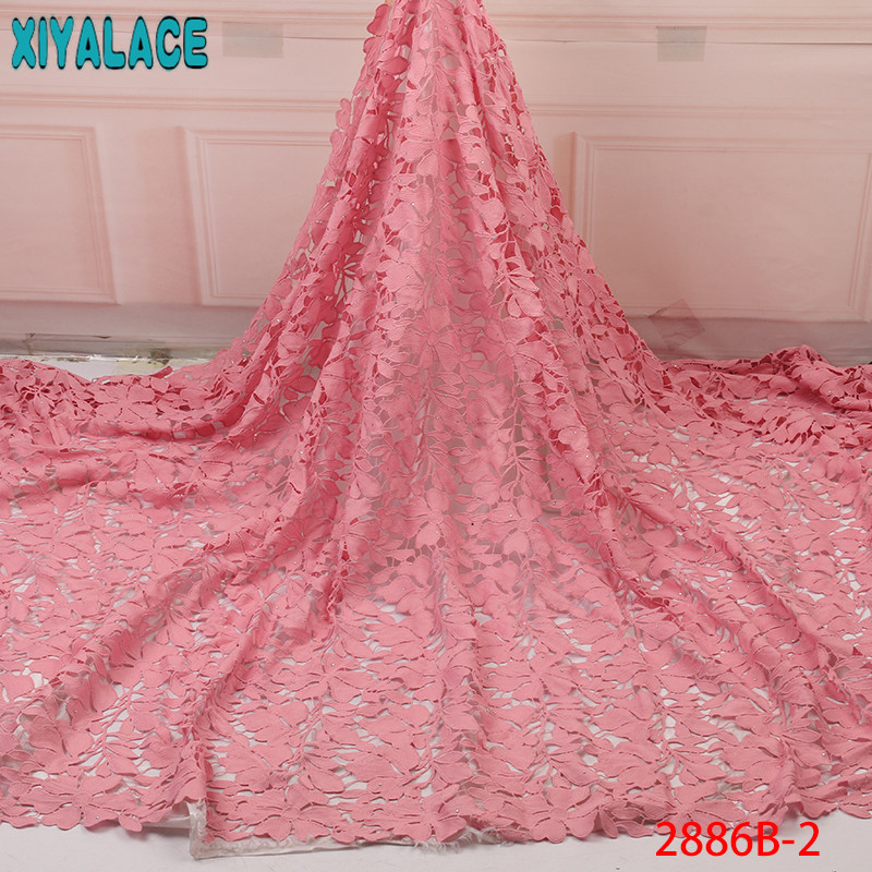 Hot Sale Guipure Lace Fabric 2019 High Quality Cord Lace With Stones Chemical Laces For Party Dresses KS2886B-2