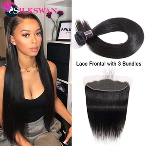 Silkswan Hair Brazilian Straight Bundles With Frontal Pre Plucked With Closure Natural Color Remy Human Hair Weave Bundles