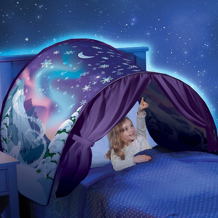 Kids Dream Bed Tents With LED Light Baby Cartoon Snowy Dinosaur Unicorn Foldable Playhouse Comfort Night Sleeping Outdoor Camp