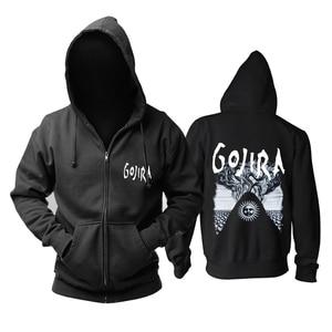 Image 5 - 9 projetos zíper moletom gojira algodão rock hoodies marca escudo jaqueta punk metal streetwear sudadera ilustração mural