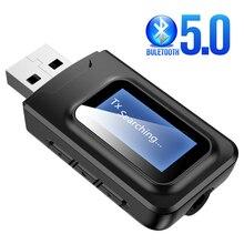 Novo bluetooth 5.0 receptor transmissor display lcd 3.5 3.5mm aux jack usb bluetooth dongle adaptador de áudio sem fio para carro pc tv
