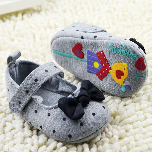 Toddler Infant Kid Girl Polka Dot Bowknot Crib Shoes Soft Sol Baby Prewalker 0-18M