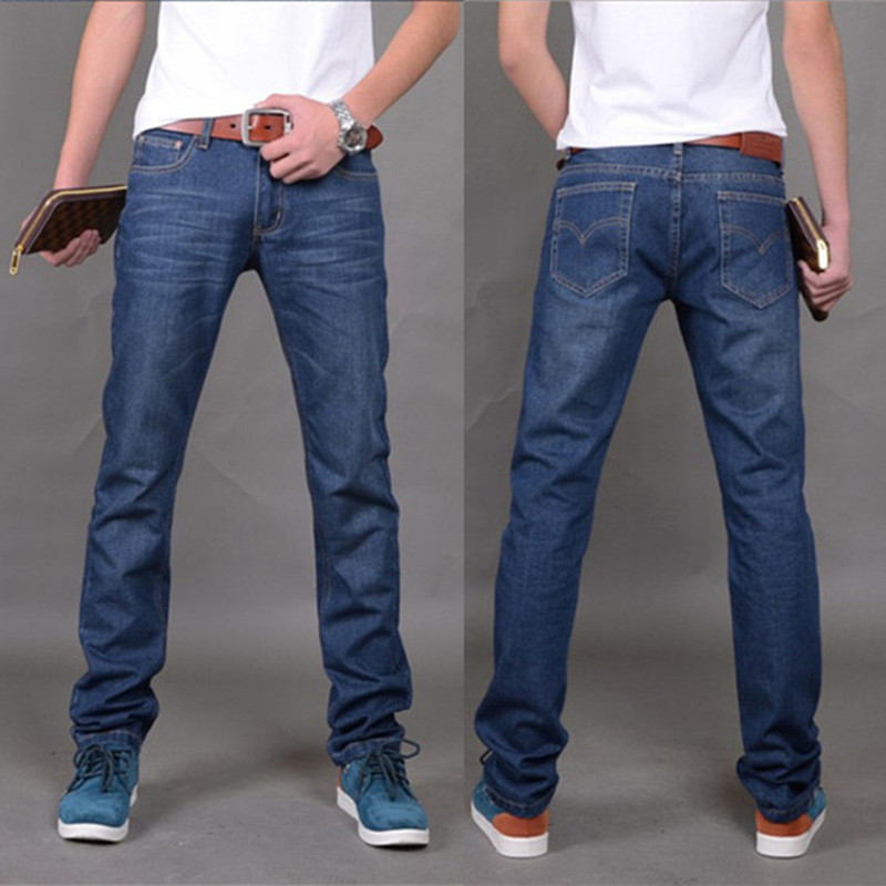 Men's Clap Cowboy Directly Canister Jeans Hight Waist Leisure Pants Business Fashion Classic Style Elastic Slim Trousers