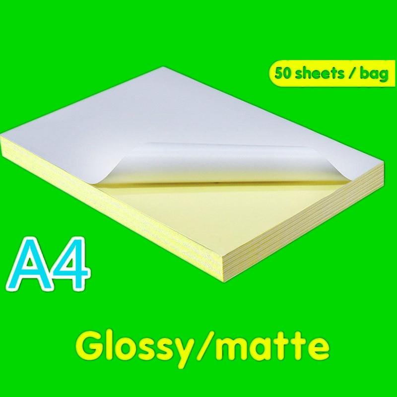 50 Sheets / Package A4 Laser Inkjet Printer Copier Kraft Paper White Sticker Matte Face Matte Laser Inkjet Surface Paper