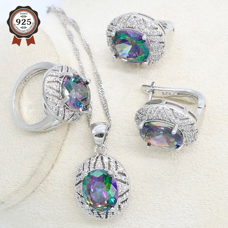 Silver Color Jewelry Set for Women Rainbow Cubic Zirconia Hoop Earrings Necklace Pendant Ring Party Birthday Gift