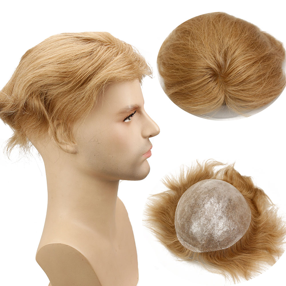 Eseewigs Color #21 Human Hair Toupee Brazilian Remy Straight Hair Skin PU Hiar Replacement Wigs For Men