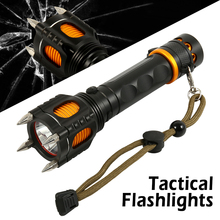 Most Powerful T6 LED Tactical Flashlight Ultra Bright Audible Alarm Cap Attack Torch 5 Modes Self Defense Torch Hunting Light