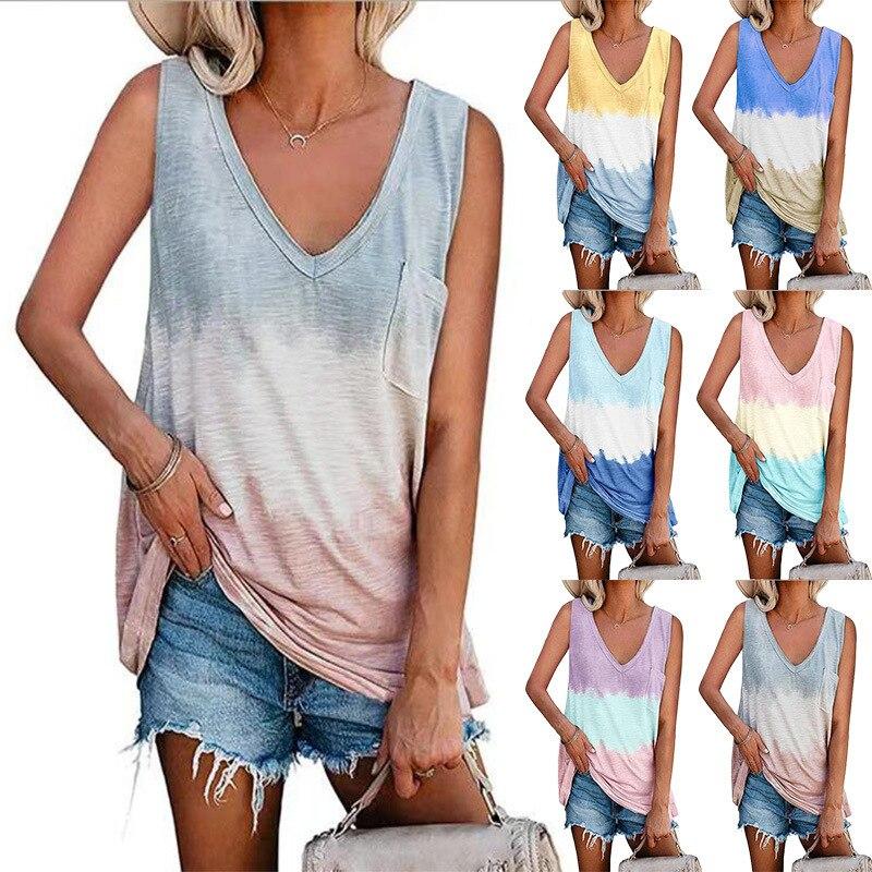 Waidx 2021 T-shirt Gradient Patchwork Women Sexy Tops Tshirts Sleeveless Shirt Top Fashion V-neck Tank Short Clothes Drop Ship