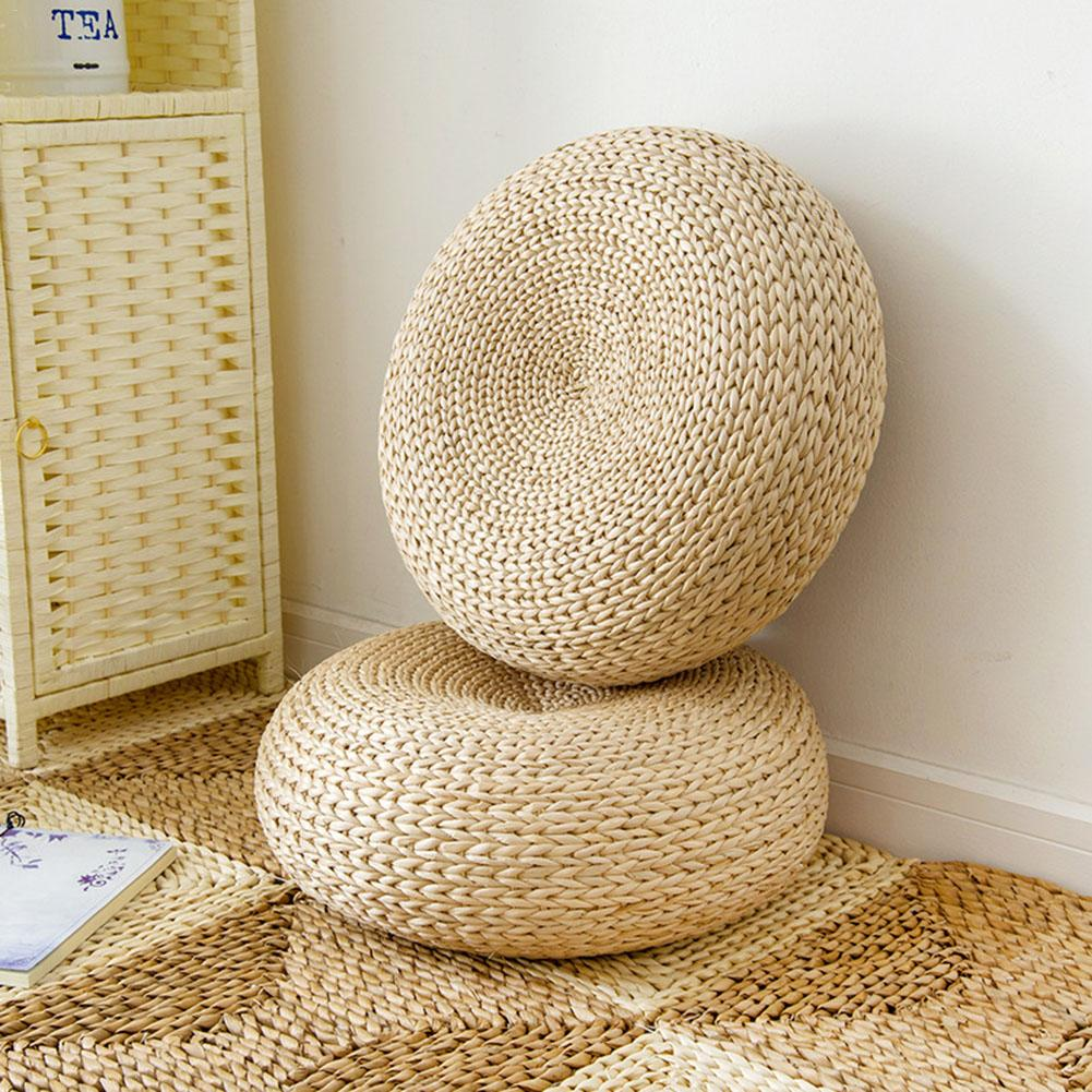 Tatami Cushion Hand-woven Natural Cushion Straw Round Thick Padded Window Chair Cushion Meditation Home Decoration Cushion