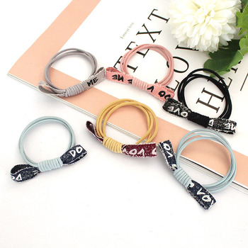 10 Pcs /Lot Hair Accessories Small Fresh Hair Rope Female Simple Silk Ribbon Letter Rubber Band Cute Hair Ring 5 pcs bow hair band hair rope handmade women s hair accessories rubber band little fresh style