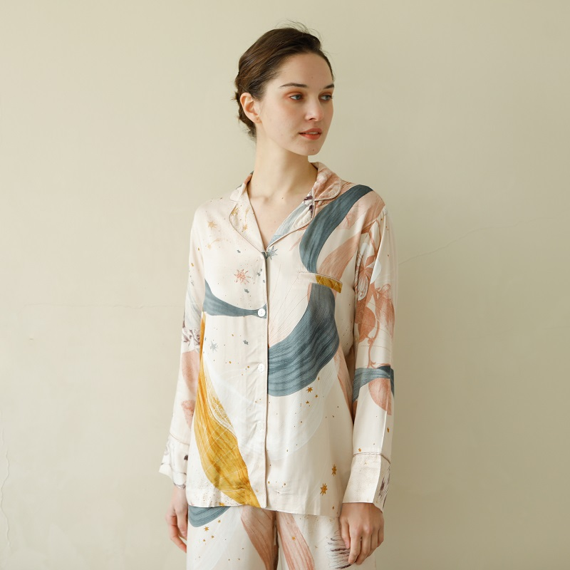 Causal Viscose Women's Long Sleeve Pajama Sets Ankle-Length Pants Multicolor Fashion Sleepwear Suits Spring Autumn Home Clothes