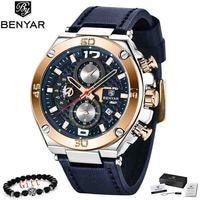 BENYAR Chronograph Quarz Uhren Männer Blau Leder Armee Sport Top Marke LuxuryWristwatch Mann Relogios Masculino Uhr 2019 Neue-in Quarz-Uhren aus Uhren bei
