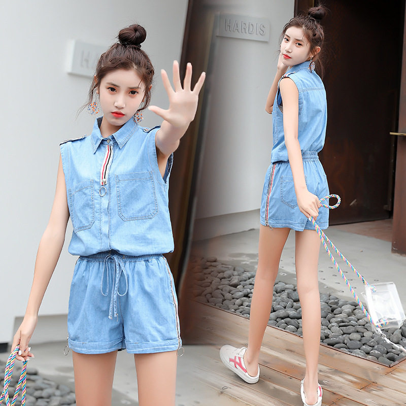 Women's Summer 2019 Summer New Style WOMEN'S Dress Western Style Denim Shorts Two-Piece Set High-waisted Slimming Fashion