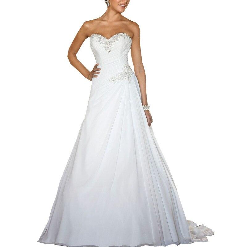 Women's Luxury Strapless A Line Bridal Gown Lace Up Wedding Dresses Vestido De Noiva /свадебное платье/robe De Mariee