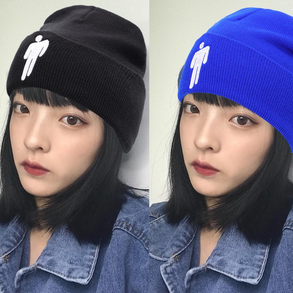 2019 Billie Eilish Beanie 5 Colours Knitted Winter Hat For Women Solid Hip-hop Skullies Knitted Hat Girl Casual Warm Caps