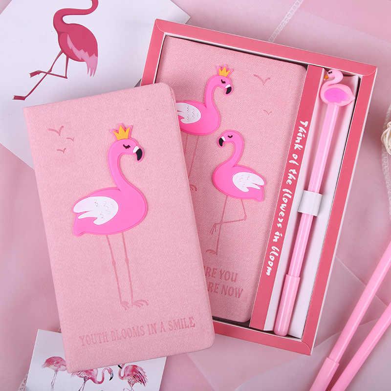 Roze Flamingo Notebook Set Meisje Notebook Met Pen Set Mooie Cartoon Flamingo Student Kantoor Notebook