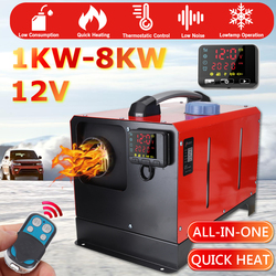 All in One 1-8KW Adjustable 12V Car Heating Tool Diesels Air Heater Single Hole LCD Monitor Parking Warmer For Truck Bus Boat RV