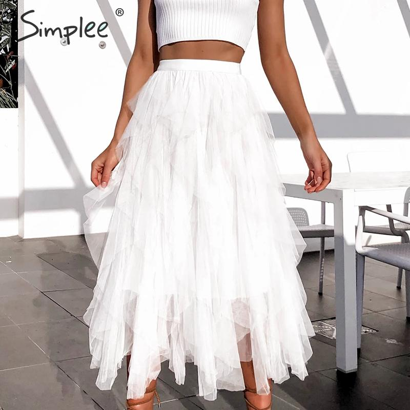 Simplee Women Party Long Skirts Elegant Elastic High Waist A-line Mesh Female Tutu Skirts Casual Autumn Winter Ladies Skirts