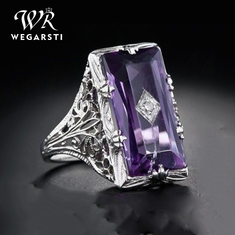 WEGARSTI 925 Silver Jewelry Purple Stone Rings For Women Square Wedding Ring Classic  Engagement Ring Bague Femme Anillos Mujer