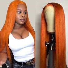 Peruca de gengibre laranja brasileira em linha reta perucas de cabelo humano 13x1 t perucas dianteira do laço 150 remy pré arrancado peruca do laço com cabelo do bebê