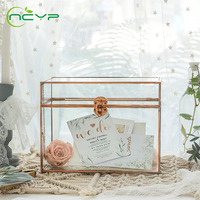 NCYP Glass Terrarium Pure Copper Card Box Geometric Terrarium Foot Latch Handmade Rectangular for Wedding Receiption Glass Box