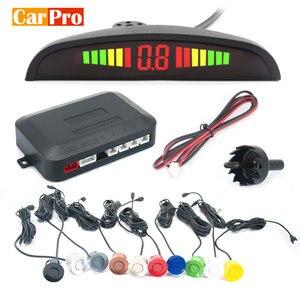 Парковочный радар CarPro, система парктроника с 4 датчиками, светодиодным дисплеем