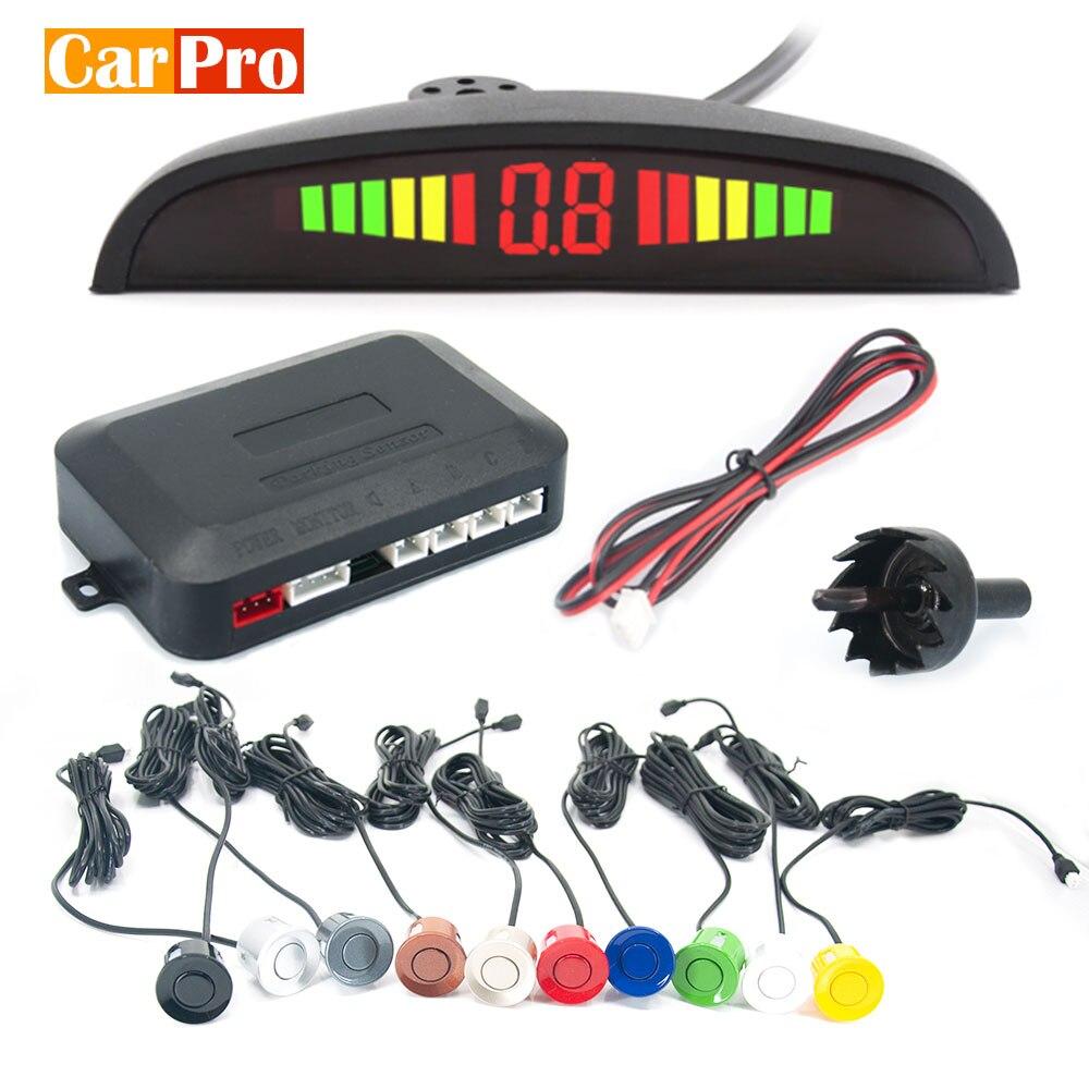 Комплект автомобильных датчиков парковки Светодиодный дисплей Авто парковочный радар с 4 сенсорами обратный резервный монитор детектор си...