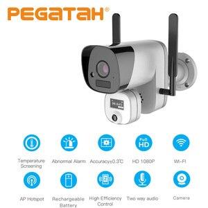 Тепловая ip-камера с функцией распознавания температуры, камера для удаленного наблюдения, камера видеонаблюдения 1080P