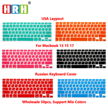 HRH Wholesale 50 pcs Russian Slim Silicone Keyboard Cover Skin Sticker Protective FILM  for Mac Book Pro Air 13 15 17 US Layout