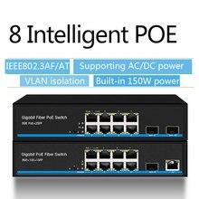 8 port PoE Schalter Gigabit Ethernet switch mit 2 SFP unterstützung IP kameras und Wireless AP 10/ 100/100 0Mbps netzwerk schalter