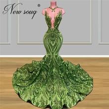 マーメイドフォーマルドレスエレガントなイリュージョングリーンイブニングドレス新 2020 カスタムメイドイスラムアフリカページェントウエディングドレス abendkleider