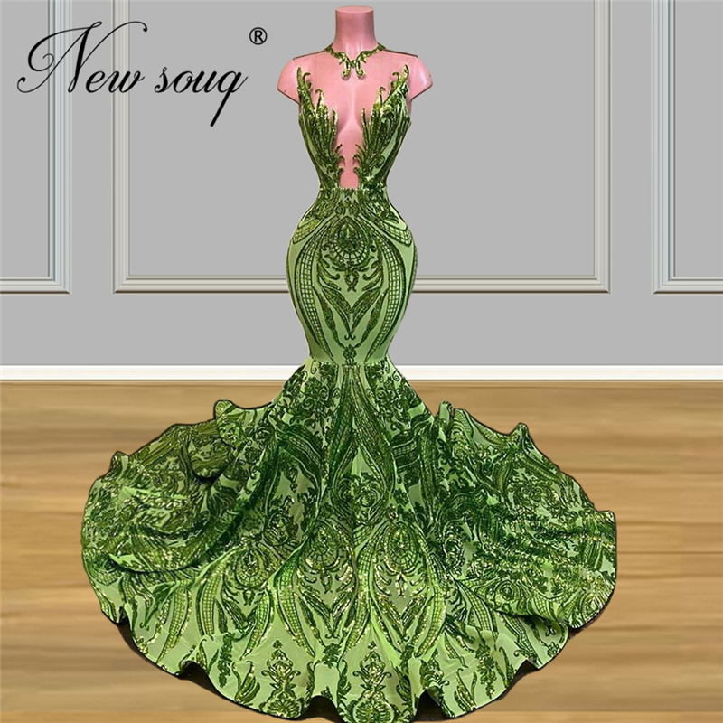 Mermaid Formal Dress Elegant Illusion Green Evening Dresses New 2020 Custom Made Islamic African Pageant Prom Gown Abendkleider