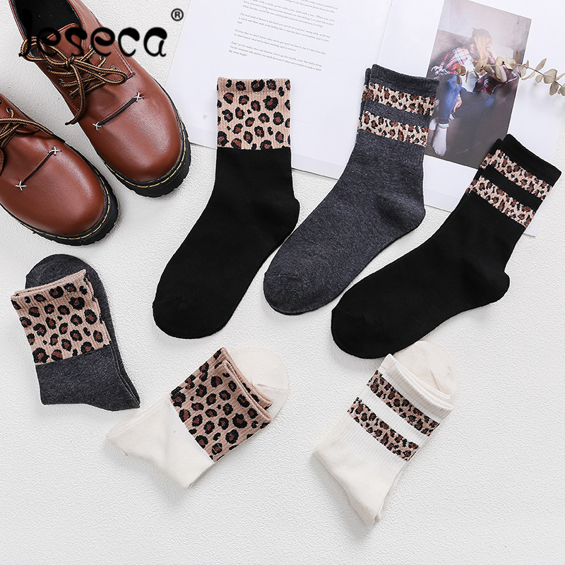 Jeseca New Autumn Winter Cotton Socks Women Splicing Leopard Print Middle Tube Ankle Socks High Rubber Sports Female Socks
