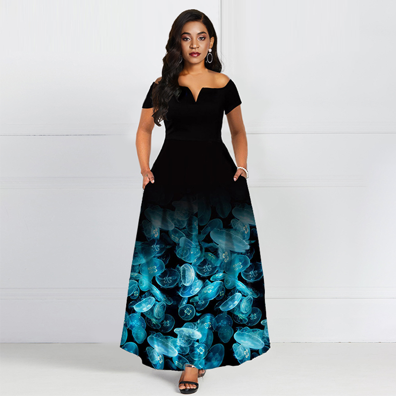 Blue Off The Shoulder Short Sleeves Floral Print Elegant   Evening     Dress   A Line High Zipper Party Formal Women   Evening     Dresses