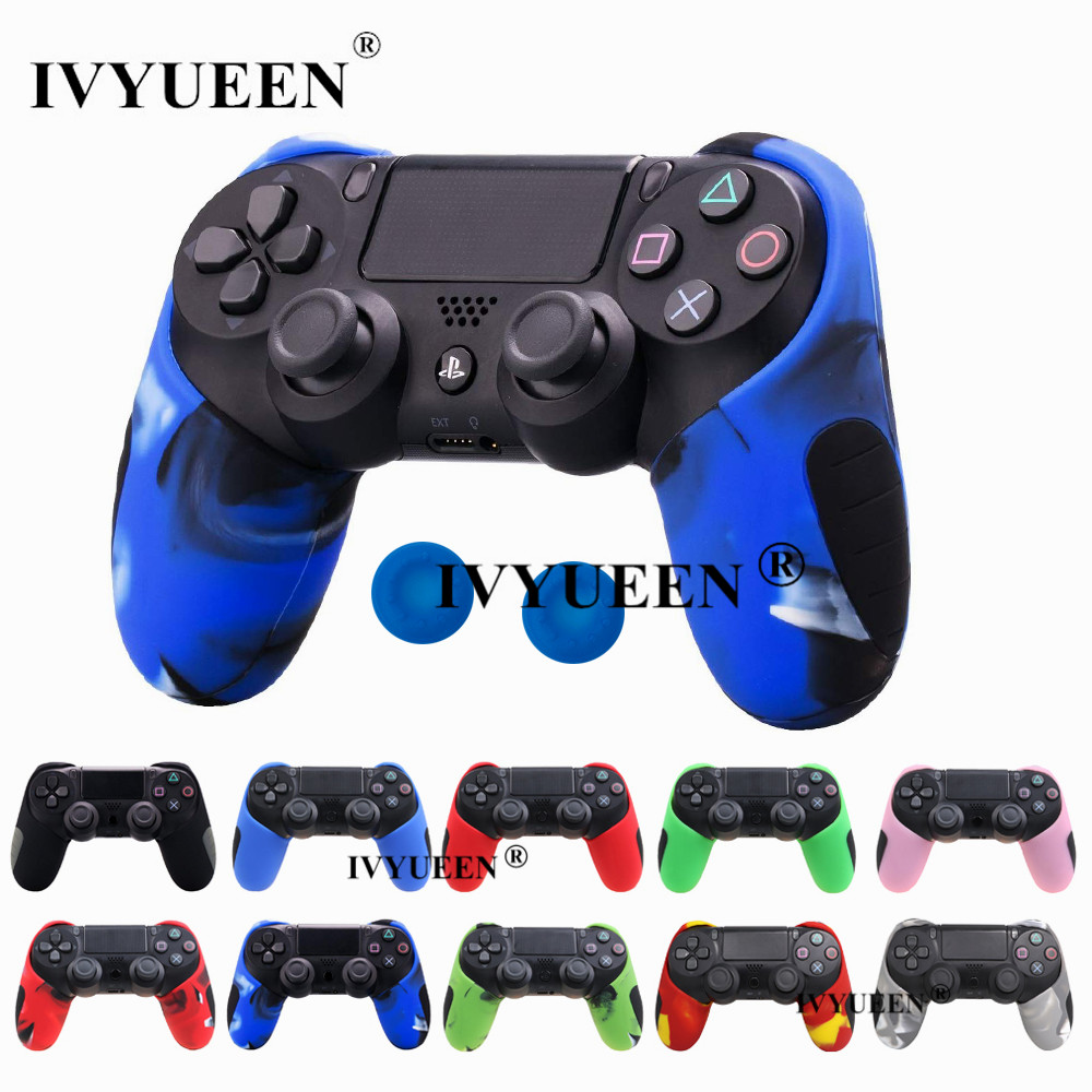IVYUEEN Soft Silicone Thicker Half Skin Case Cover and Thumb Stick Grips Cap for PlayStation Dualshock 4 PS4 Pro Slim Controller