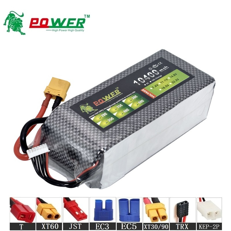 High Capacity MAX 60C 2s 3s 4s 6s 10400mah 7.4v 11.1v 14.8v 22.2v Rechargeable Batterry For RC Car Boat Drones upgrade 10000MAH(China)