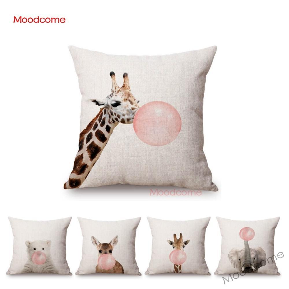 Милые лесные животные панда жираф слон Жевательная жевательная резинка артистический диван подушка крышка лесной Забавный чехол для подуш...