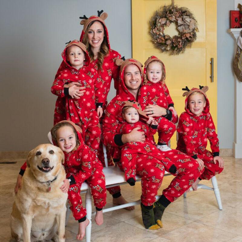 Christmas Pajamas Coverall  Set Adult Women Kids Baby Reindeer Cute Prints Zip Stereo Ears Sleepwear Pijama Navidad Familia