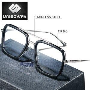 Image 1 - Optique ordinateur lunettes hommes cadre Anti lumière bleue bloquant Prescription lunettes cadre myopie clair jeu lunettes cadre