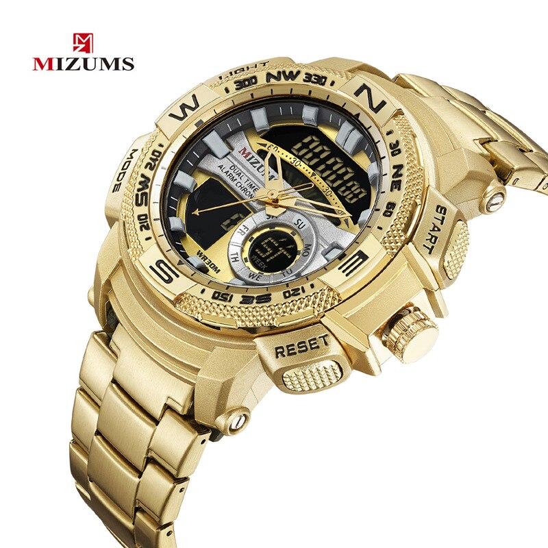 MIZUMS Men Clock Gold Watch Mens Digital LED Sport Wristwatch Men's Quartz Dual Display Waterproof Watches Relogio Masculino