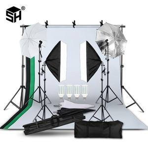 Image 1 - 2M X 3M Achtergrond Support System Softbox Paraplu Kit Voor Foto Studio Product, portret En Video Shoot Fotografie Lichten
