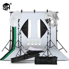 2m x 3m sistema de suporte de fundo softbox guarda chuva kit para o produto do estúdio de fotos, retrato e vídeo atirar luzes de fotografia